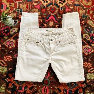 Free People white low-rise skinny cropped jeans